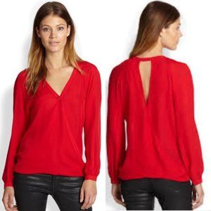 """Parker """"Mae"""" red silk wrap effect top"""